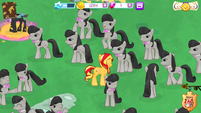 Sunset Shimmer surrounded by Octavias (MLP mobile game)