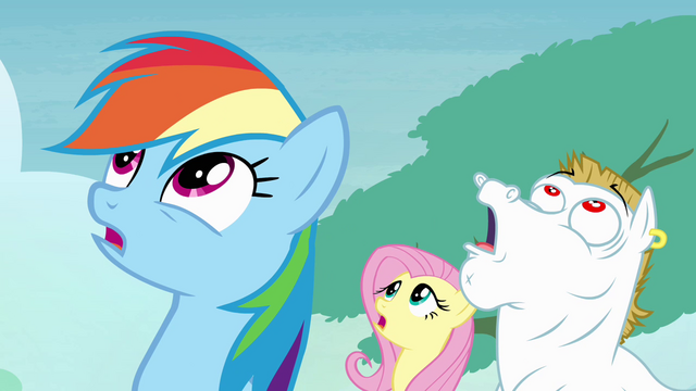 File:Rainbow, Fluttershy and Bulk sees Soarin falling S4E10.png