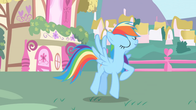 File:Rainbow Dash finishes her rainblow dry S1E01.png