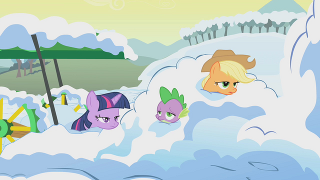 File:Twilight, AJ, and Spike in pile of snow S1E11.png