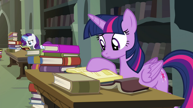 File:Twilight looking through library books S4E25.png