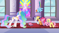 Celestia and Main 6 stare at the empty box S2E01.png