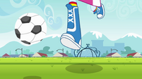 Rainbow Dash kicking a ball down the field EG