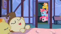 Pinkie Pie, Mr. and Mrs. Cake look at sleeping twins S2E13