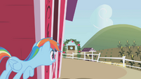 Rainbow hides behind the barn S1E05