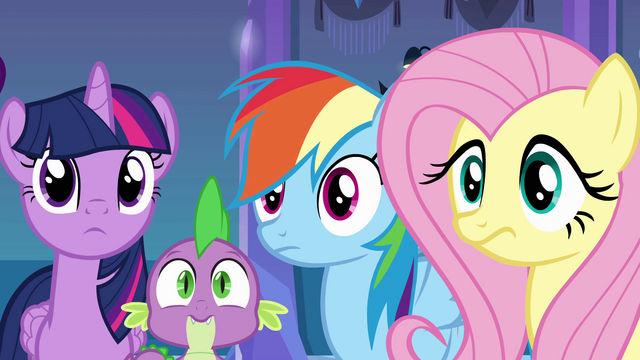 File:Twilight, Spike, Rainbow Dash, and Fluttershy listening to Luna EG.png