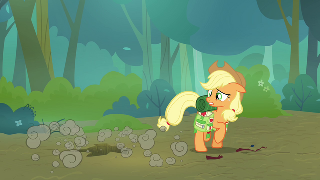 File:Applejack sees Scootaloo fall through the ground S3E06.png