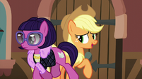 Applejack tries talking to passing mare S5E16