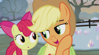 Applejack whispering to Apple Bloom S5E20