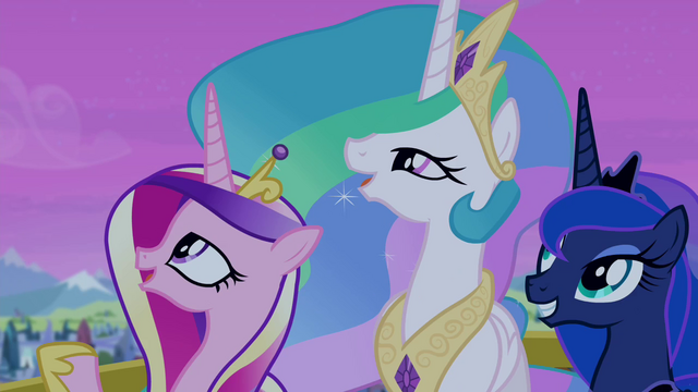 File:Celestia, Luna, and Cadance looking at the sky S4E25.png