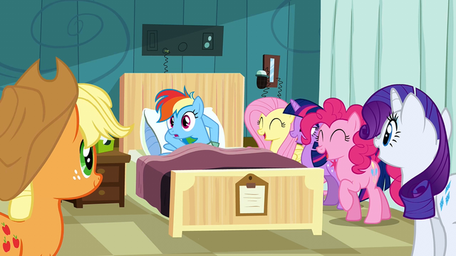 File:Rainbow Dash being laughed at for not reading S2E16.png