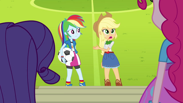 File:Rainbow and Applejack misunderstanding EG.png