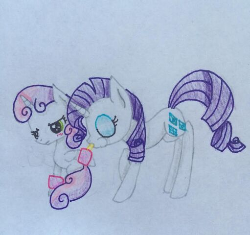 File:FANMADE Sweetie Belle and Rarity Traditional.jpg