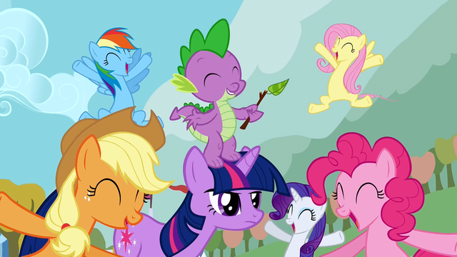 File:The ponies are cheering S1E13.png