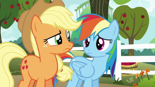 File:AJ and Rainbow look at each other confused S6E18.png