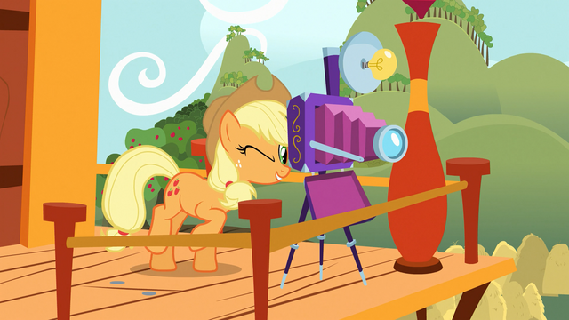 File:Applejack taking a picture S03E08.png