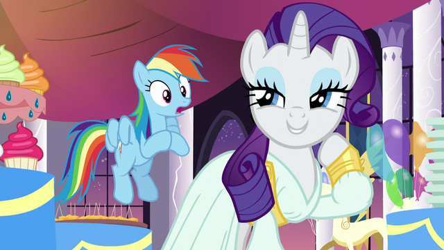"File:Rarity ""the barest hint of floral notes and""; Rainbow shocked S5E15.png"