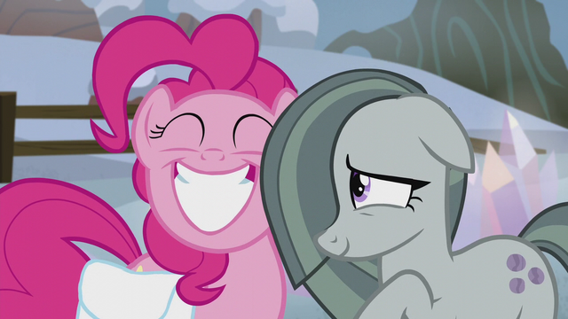 File:Pinkie Pie grinning; Marble bashful S5E20.png