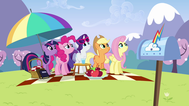 File:Main ponies looking up at Rainbow S3E7.png