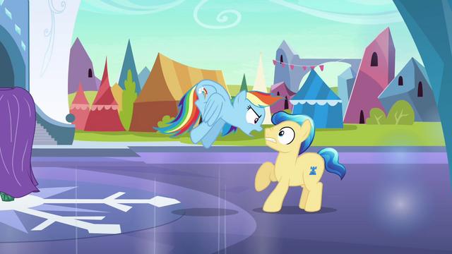 File:Rainbow Dash intimidates stallion S3E2.png
