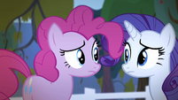 Pinkie Pie and Rarity looks at each other S4E7