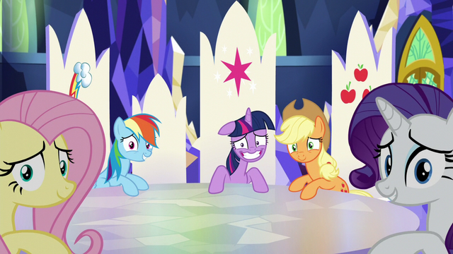File:Twilight smiling nervously and others looking at Pinkie S5E11.png