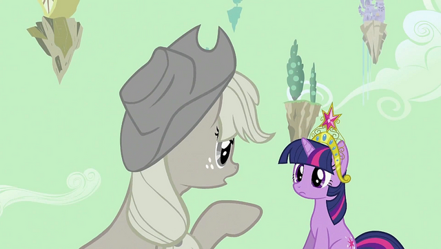 File:Applejack pointing at Twilight S2E02.png