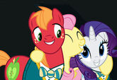 Fluttershy hugging Big Mac and Rarity promotional S4E14