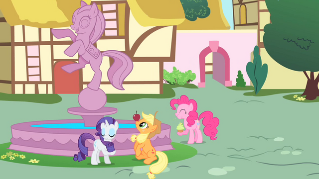 File:Rarity, Applejack, and Pinkie playing at the fountain S01E22.png