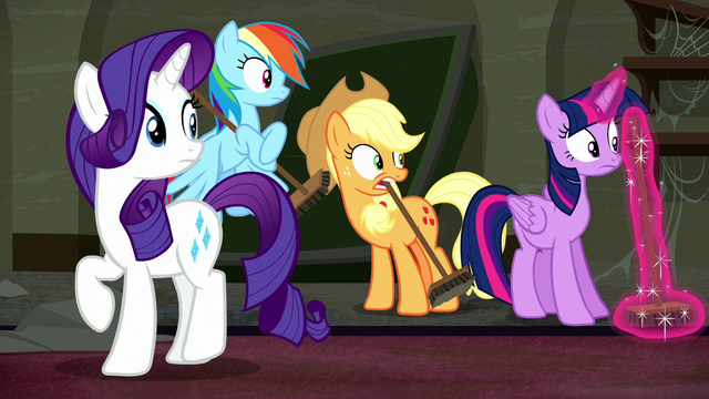 File:Rarity and friends hear Mr. Stripes S6E9.png
