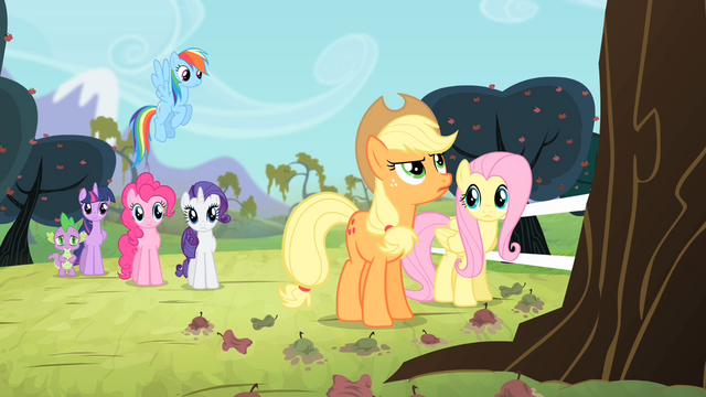 File:Applejack looks up to the apple tree S4E07.png