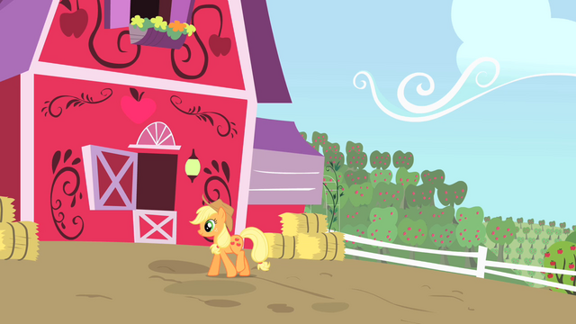 File:Applejack walking by her barn S01E25.png