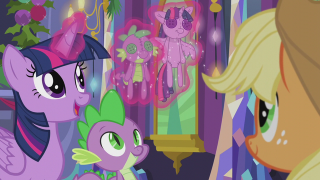 File:Twilight levitates Twilight and Spike dolls S5E20.png