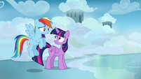 Twilight and Rainbow amused by Sky Stinger's ego S6E24