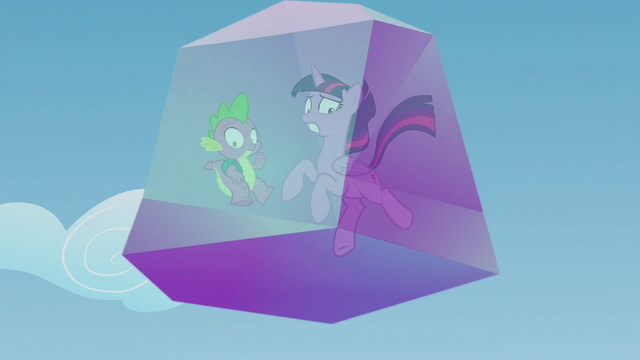 File:Twilight and Spike's crystal prison falls out of the sky S5E25.png