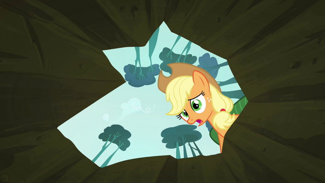 File:Applejack sees Scootaloo inside the hole S3E06.png