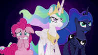 Celestia and Luna determined; Pinkie Pie scared BFHHS5