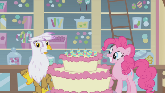 File:Pinkie and Gilda smiling by the cake S1E05.png