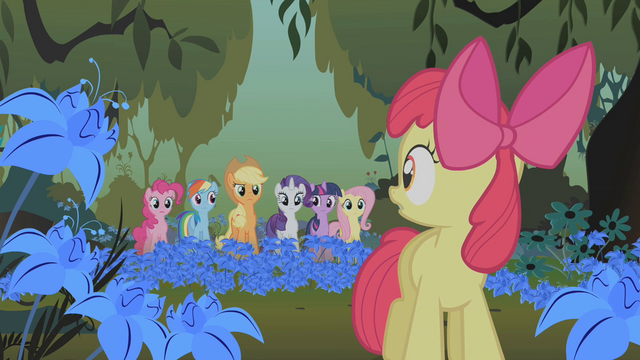 File:Applejack and friends looking at Apple Bloom S1E09.png