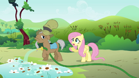 Fluttershy talking to Mr. Greenhooves S2E19