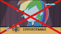 Friendship Games Rainbow Dash misspells 'hippopotamus' - Italian