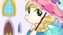 Pony wears a Princess Dress and holds a parasol S5E14
