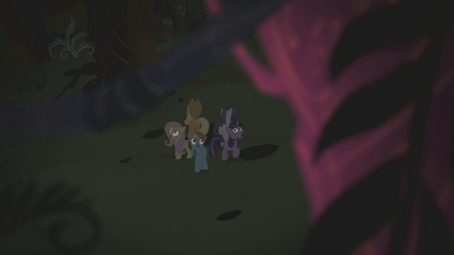File:Twilight and friends surrounded by spooky trees S1E02.png