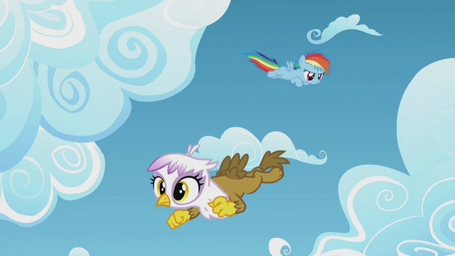 File:Young Rainbow and Gilda fly around the clouds S5E8.png