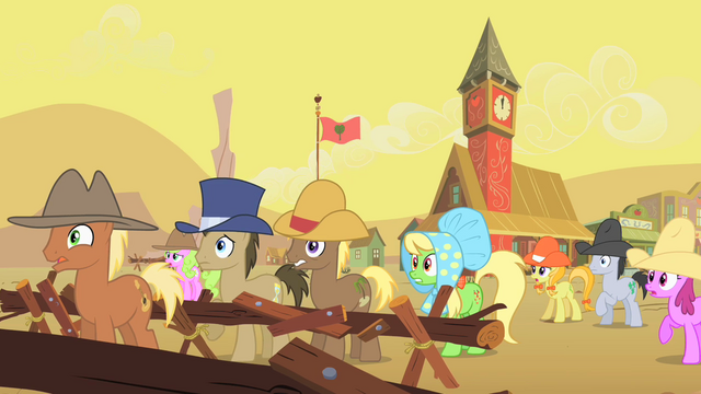 File:Appleloosa ponies watching buffalo gather S1E21.png
