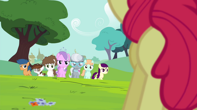 File:Diamond Tiara, Silver Spoon and other foals walking S4E15.png