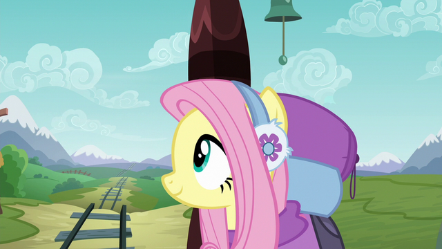 File:Fluttershy smiling after the volcano vanishes S6E17.png