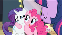 Pinkie Pie hugging Rarity S2E11