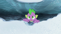 Spike hanging helplessly over the chasm S6E16