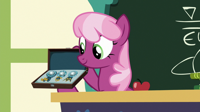 File:Cheerilee showing off the Derby awards S6E14.png